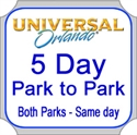 Picture of Universal Orlando -  5 Day Park to Park Ticket - Visit both parks on same day.