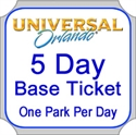 Picture of Universal Orlando - 5 Day Base Ticket - One park per day.