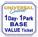 Picture of Universal - 1 Day VALUE BASE ticket that entitles guest admission to either Universal Studios Florida™ OR Universal's Islands of Adventure™ on any one (1) VALUE calendar date.