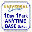 Picture of Universal - 1 Day ANYTIME BASE Ticket entitles guest admission to Universal Studios Florida™ OR Universal's Islands of Adventure™ on any one (1) calendar day - NO Black Out Dates.