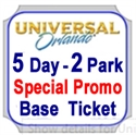 Picture of Universal SPECIAL PROMO - 5 day 2 Park, Base ticket offering ONE park per Day. See BLACKOUT DATES by clicking on GREEN tag called ticket info as below.