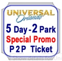 Picture of Universal SPECIAL PROMO -  5 day 2 Park, with Park to Park option of both parks on same day. See BLACKOUT DATES by clicking on GREEN tag called ticket info as below.