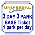 Picture of Universal - 3 Park - 3 Day Base Ticket - 1 PARK PER DAY. Universal Studios Florida OR Universal's Islands of Adventure. Does not include Volcano Bay water park.