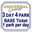 Picture of Universal - 3 Park - 4 Day Base Ticket - 1 PARK PER DAY. Universal Studios Florida OR Universal's Islands of Adventure. Does not include Volcano Bay water park.